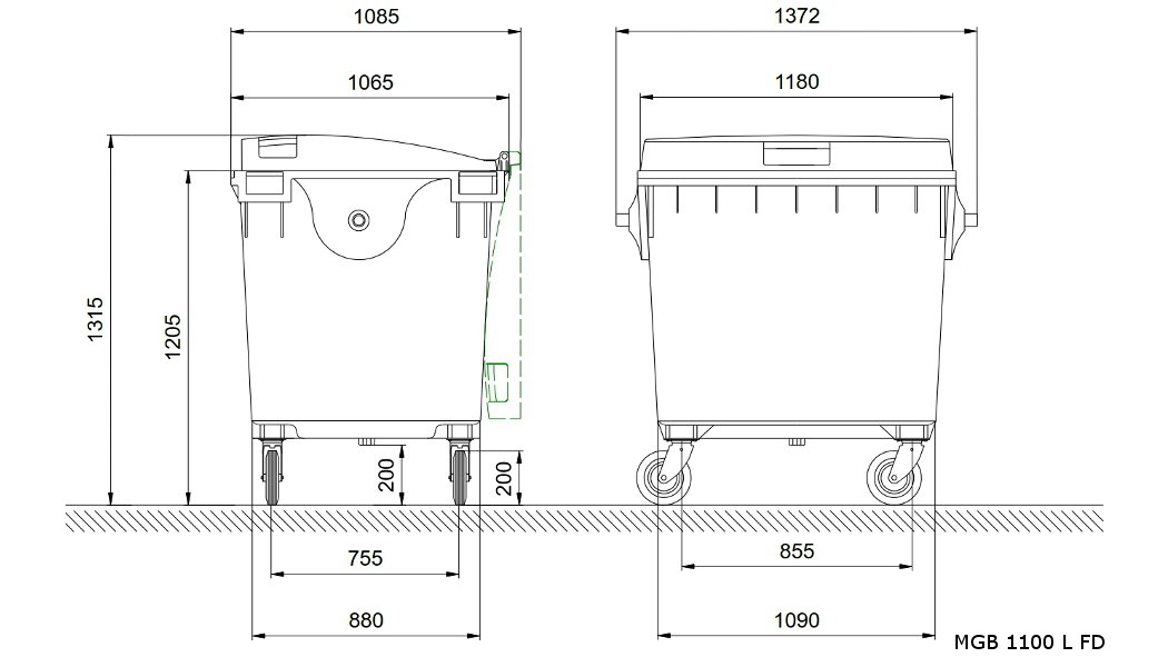 wheelie bins 1100 L FL Dimensional drawing