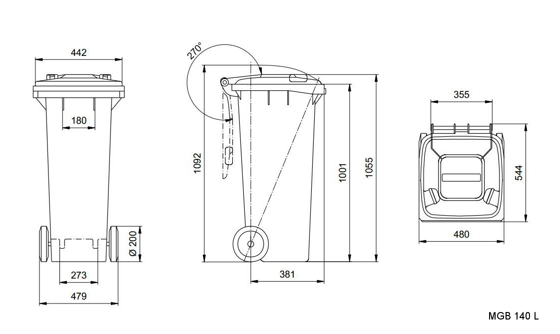 Sizes Dimensions And Measures Of The Wheelie Bins 140