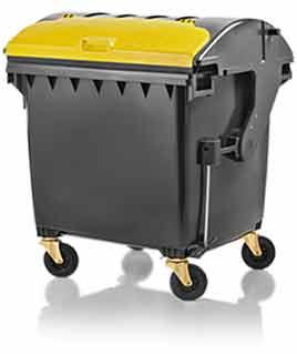 Abfallbehälter Weber Müllgroßbehälter 1100 Liter, Runddeckel Deckel im Deckel