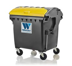 Mobile waste container 1100 litre round lid LiL